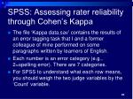 spss assessing rater reliability through cohen s kappa
