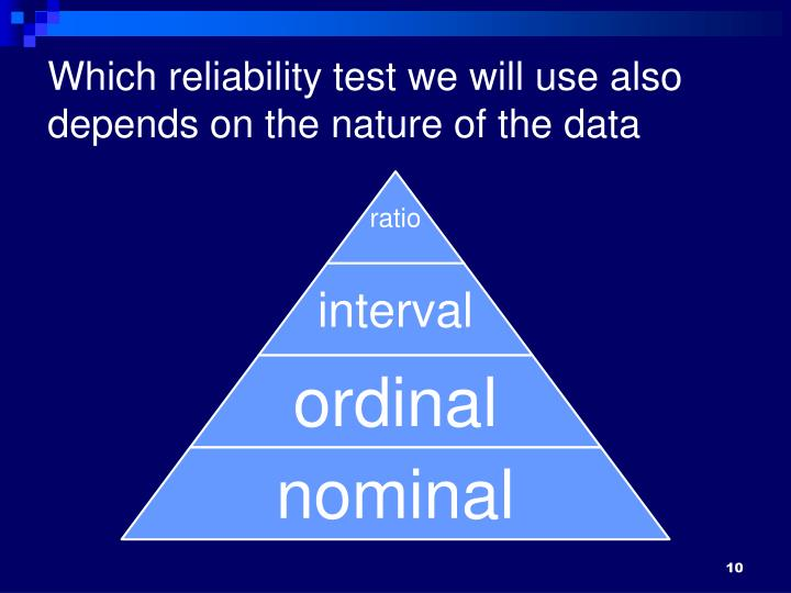 Which reliability test we will use also depends on the nature of the data