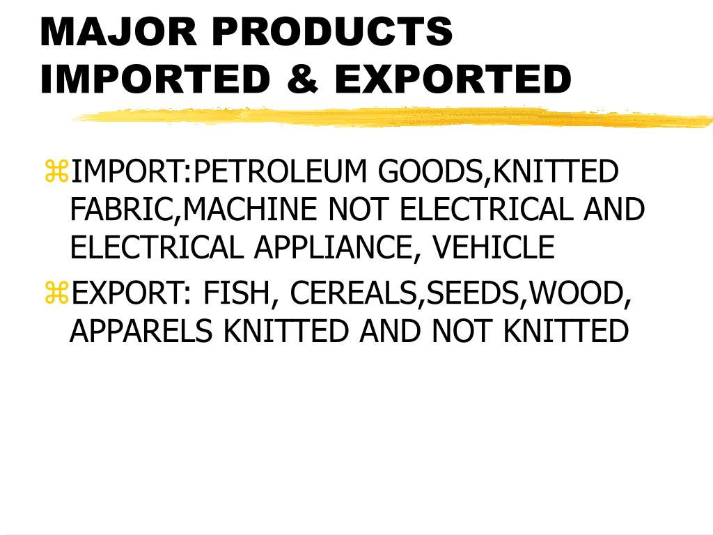 MAJOR PRODUCTS IMPORTED & EXPORTED