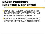 major products imported exported