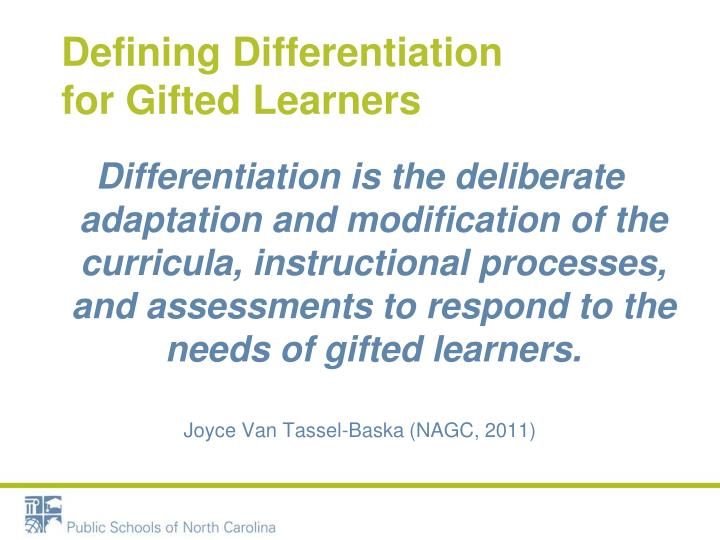 Defining Differentiation