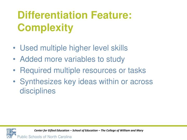Differentiation Feature: Complexity