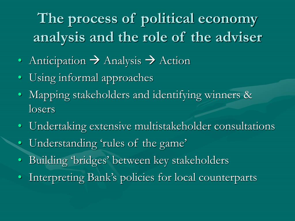 The process of political economy analysis and the role of the adviser