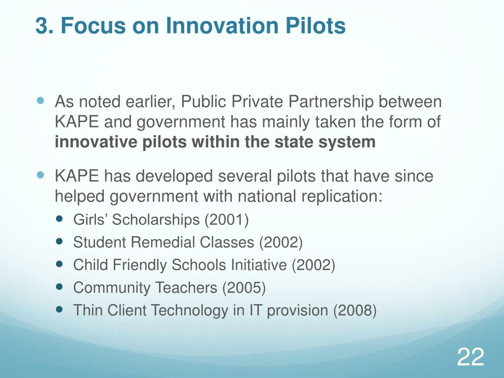 3. Focus on Innovation Pilots
