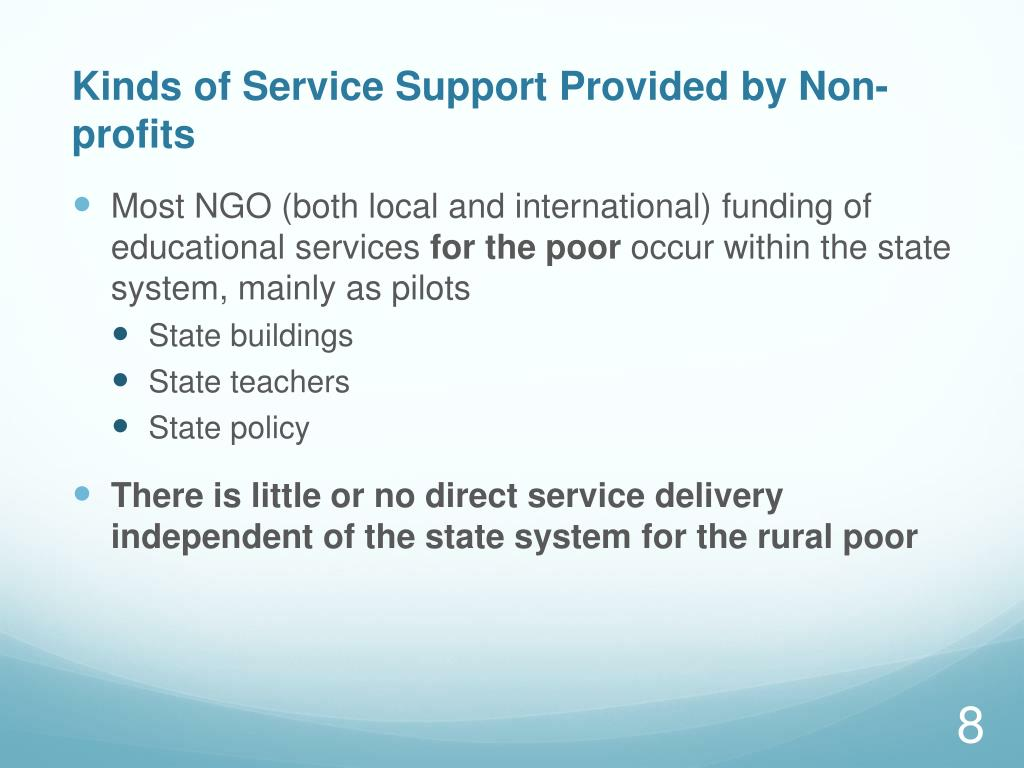 Kinds of Service Support Provided by Non-profits