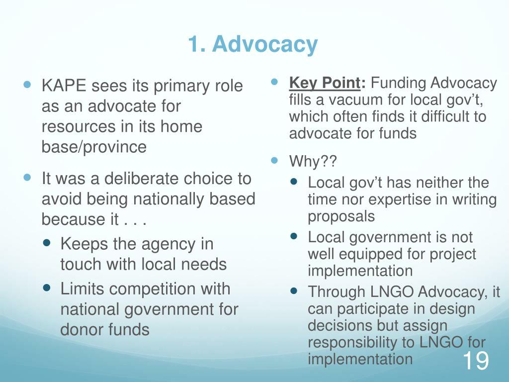 1. Advocacy