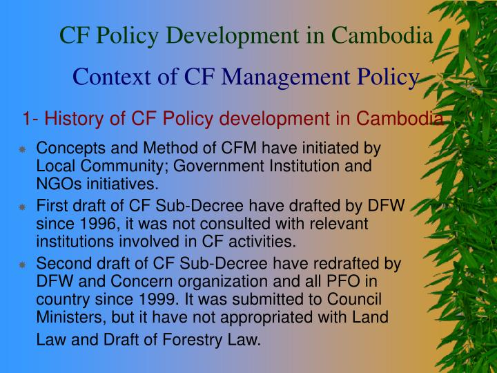 1 history of cf policy development in cambodia