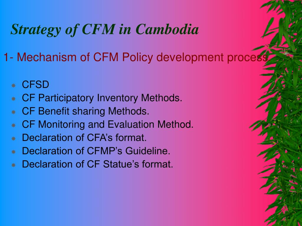 1- Mechanism of CFM Policy development process.