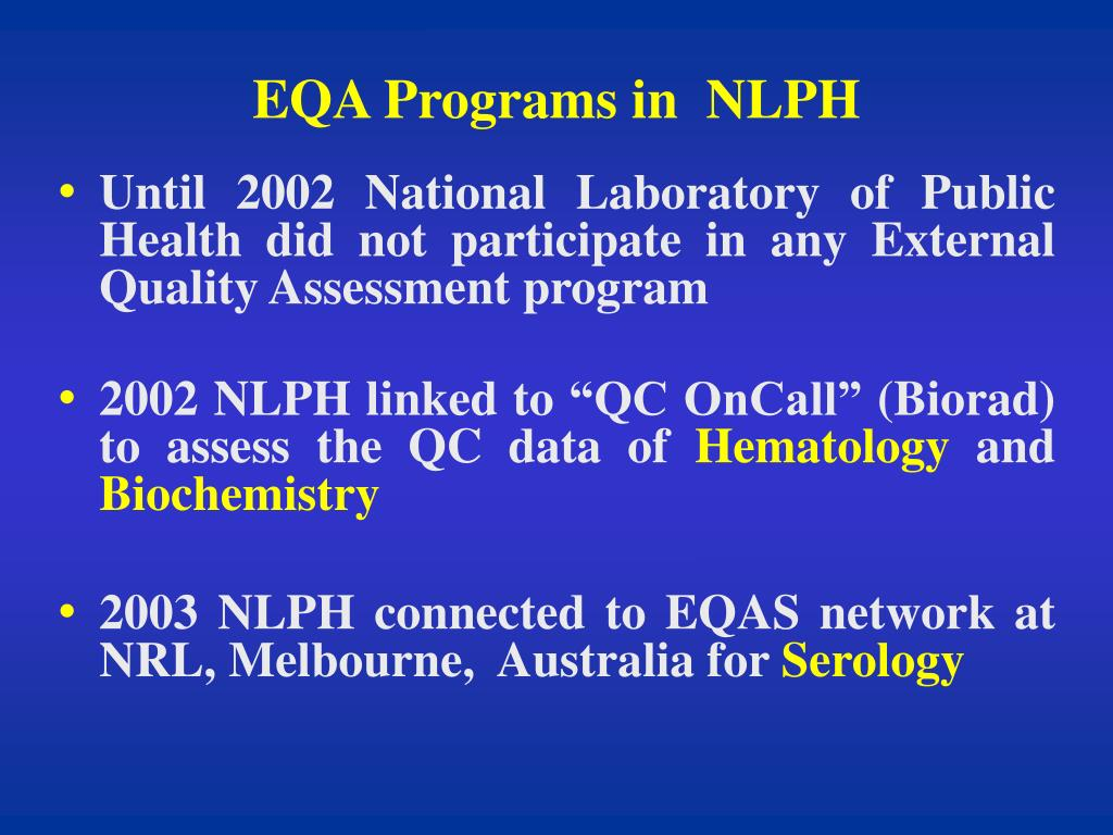 EQA Programs in  NLPH