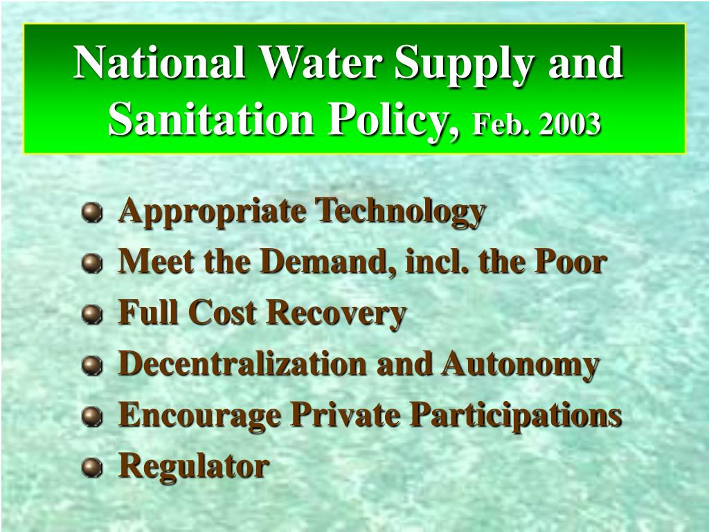 National Water Supply and