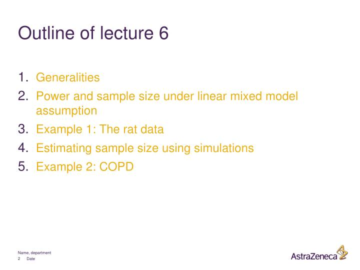 Outline of lecture 6
