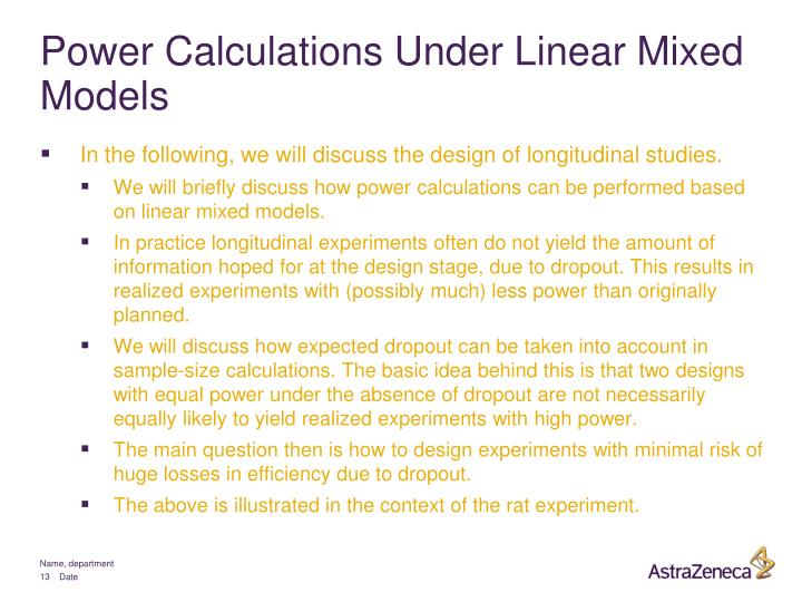 Power Calculations Under Linear Mixed Models
