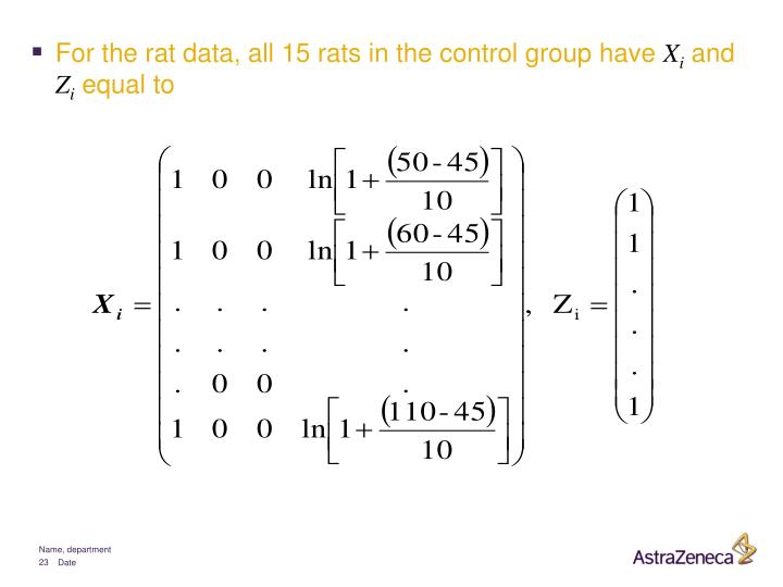 For the rat data, all 15 rats in the control group have