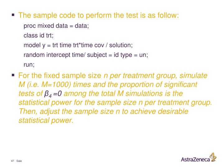 The sample code to perform the test is as follow: