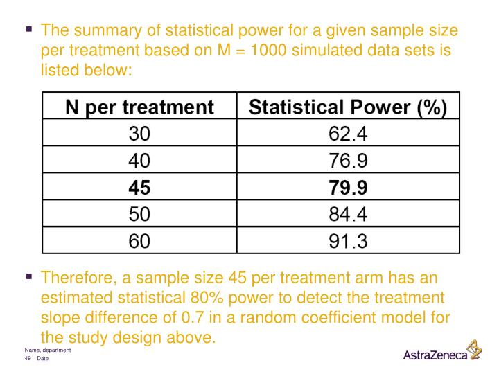 The summary of statistical power for a given sample size per treatment based on M = 1000 simulated data sets is listed below: