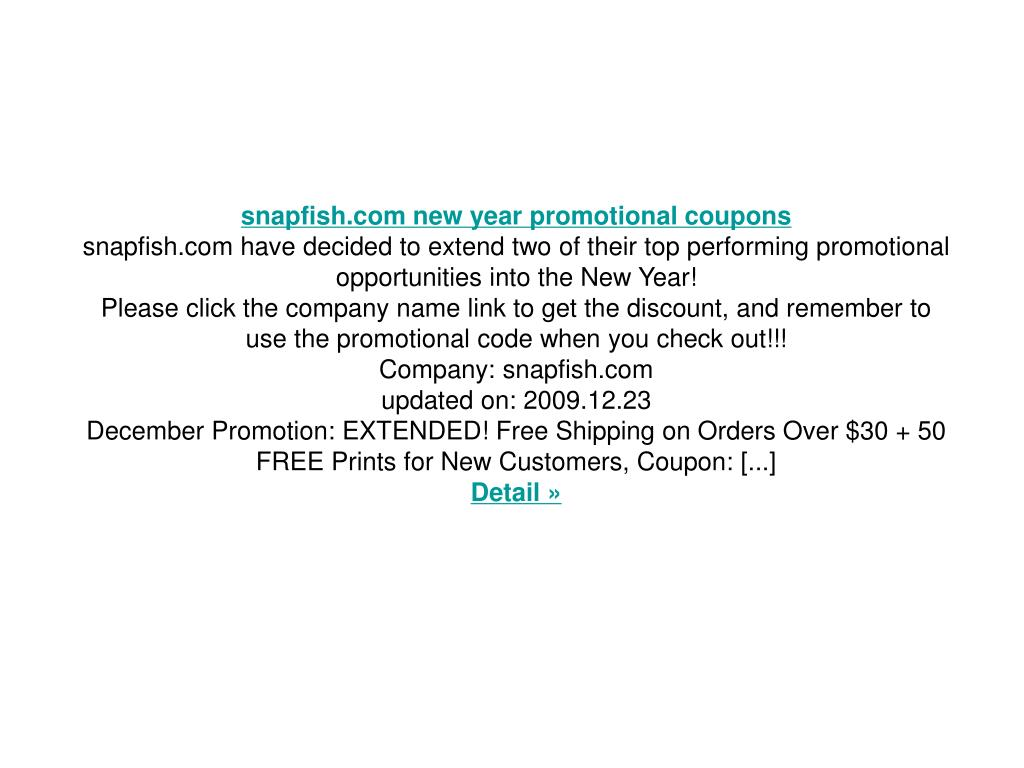 snapfish.com new year promotional coupons
