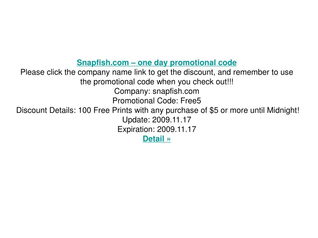 Snapfish.com – one day promotional code