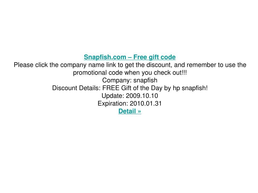 Snapfish.com – Free gift code