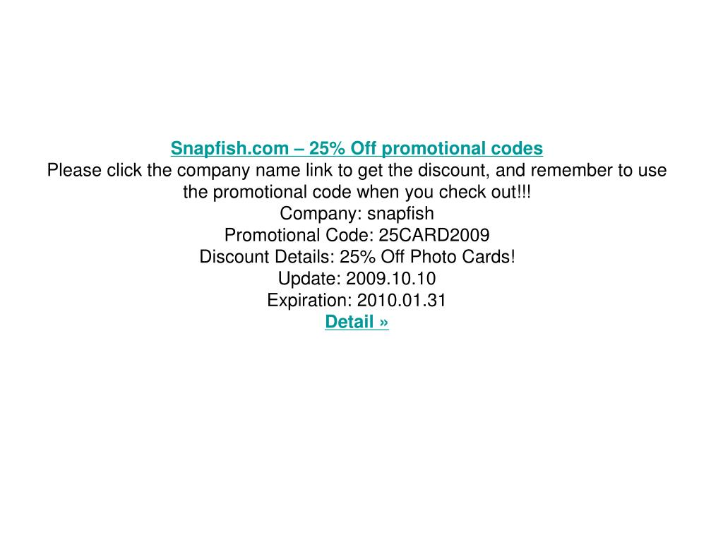 Snapfish.com – 25% Off promotional codes