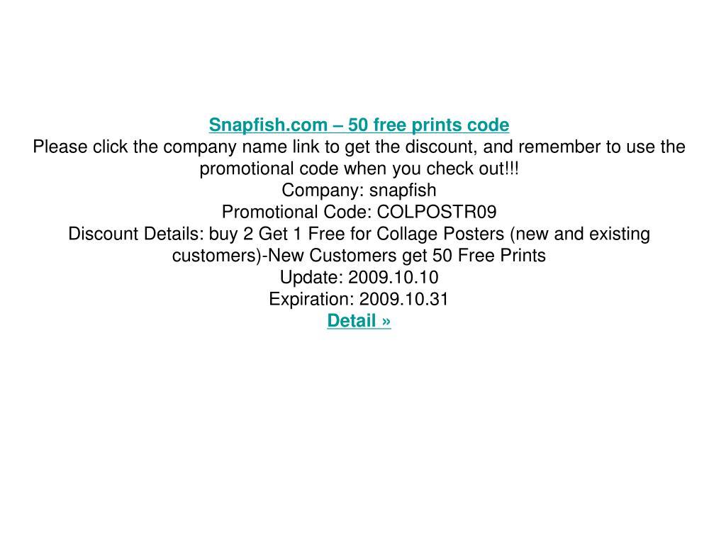 Snapfish.com – 50 free prints code