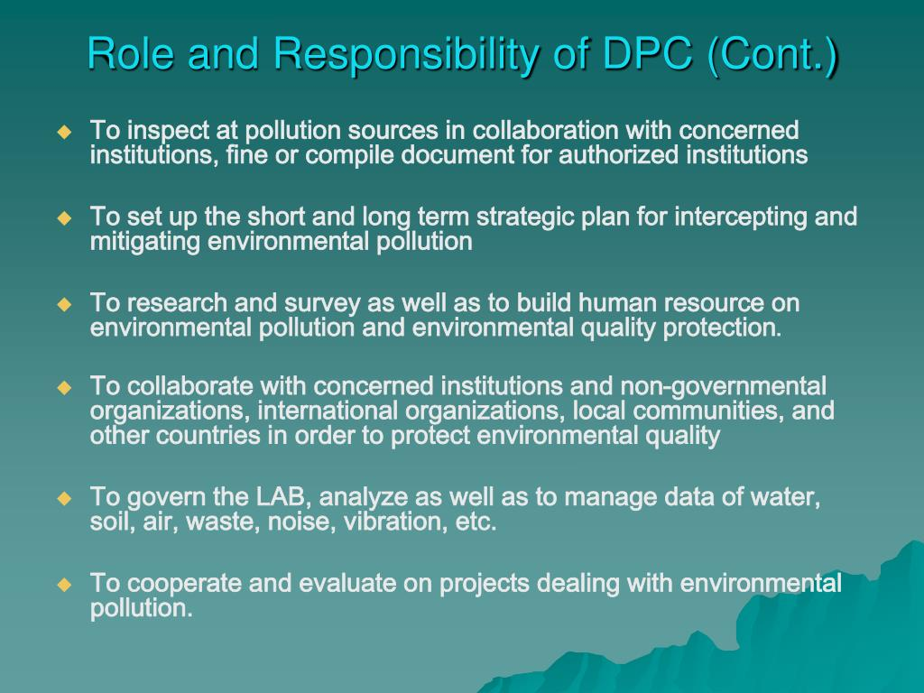 Role and Responsibility of DPC (Cont.)