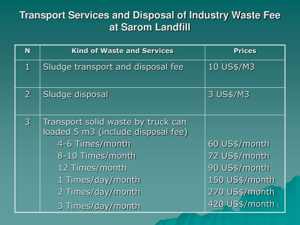 Transport Services and Disposal of Industry Waste Fee