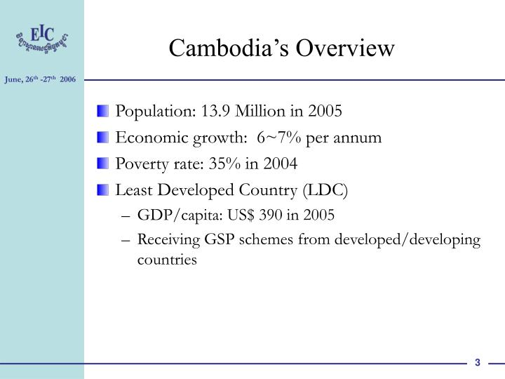 Cambodia s overview