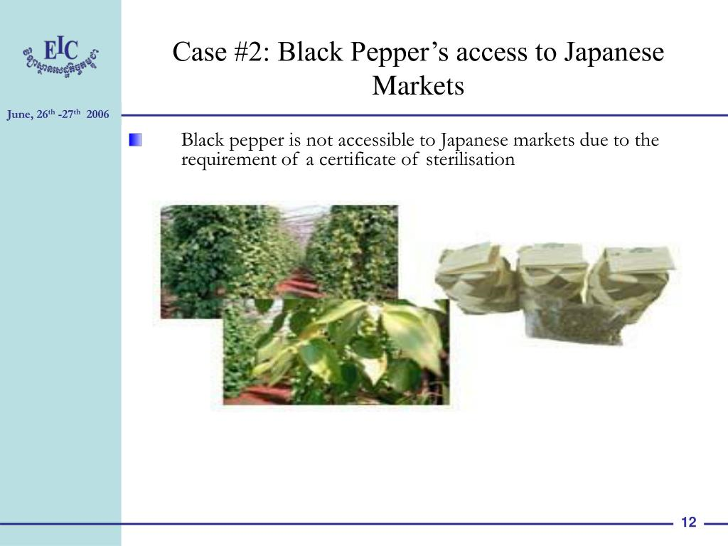 Case #2: Black Pepper's access to Japanese Markets
