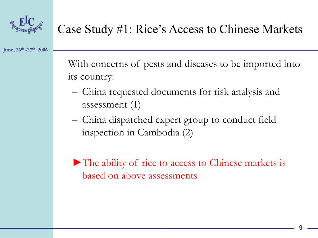 Case Study #1: Rice's Access to Chinese Markets
