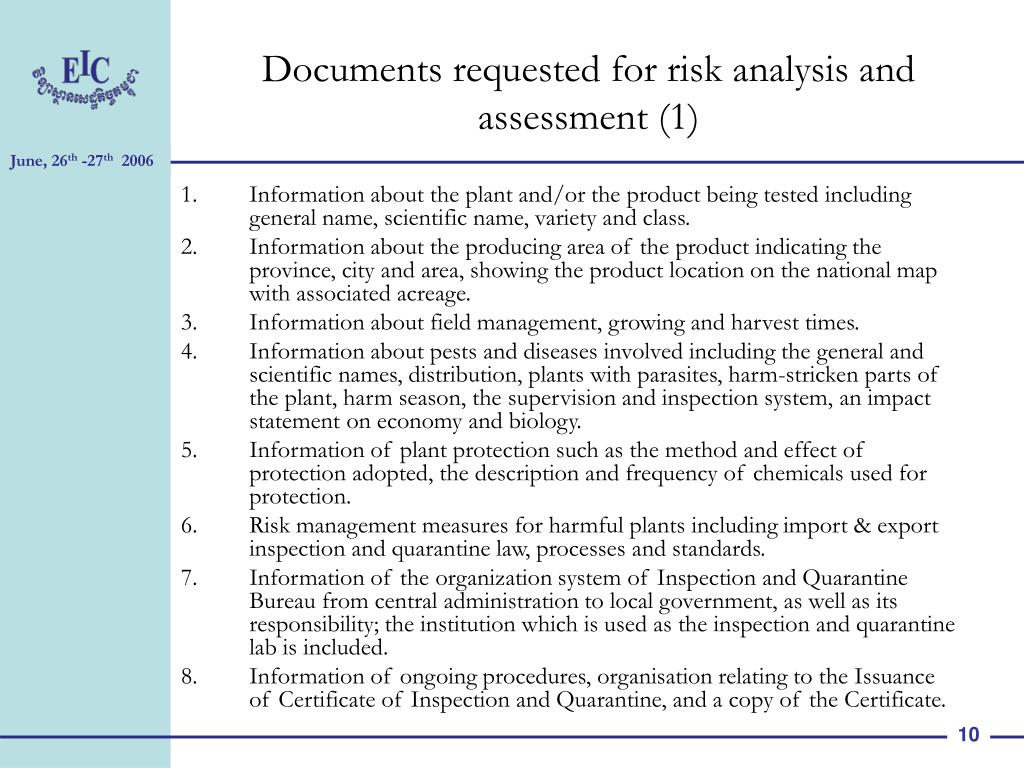 Documents requested for risk analysis and assessment (1)