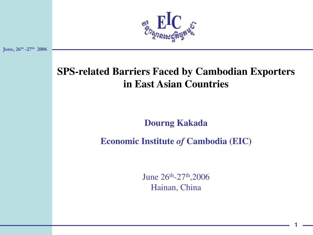SPS-related Barriers Faced by Cambodian Exporters
