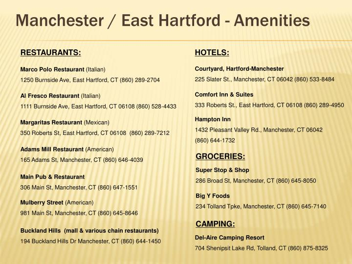 Manchester / East Hartford - Amenities