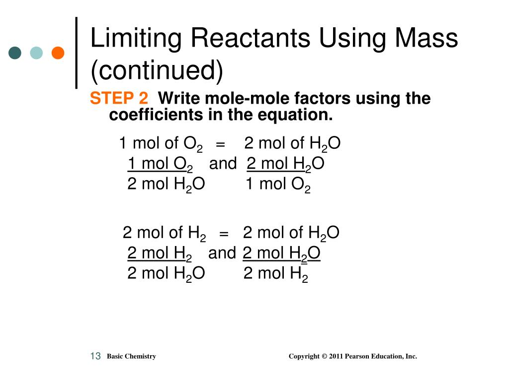 Limiting Reactants Using Mass (continued)