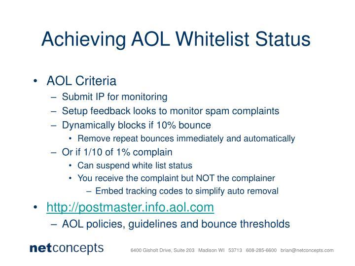 Achieving AOL Whitelist Status