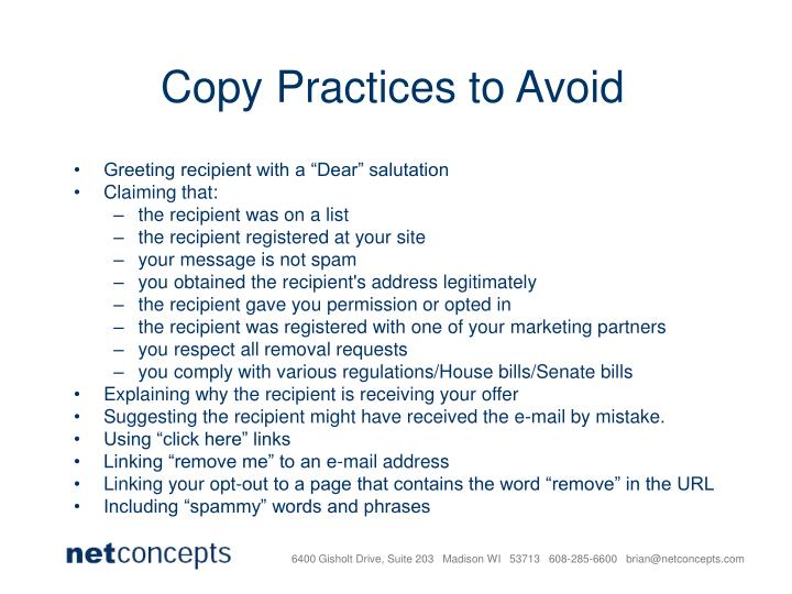 Copy Practices to Avoid
