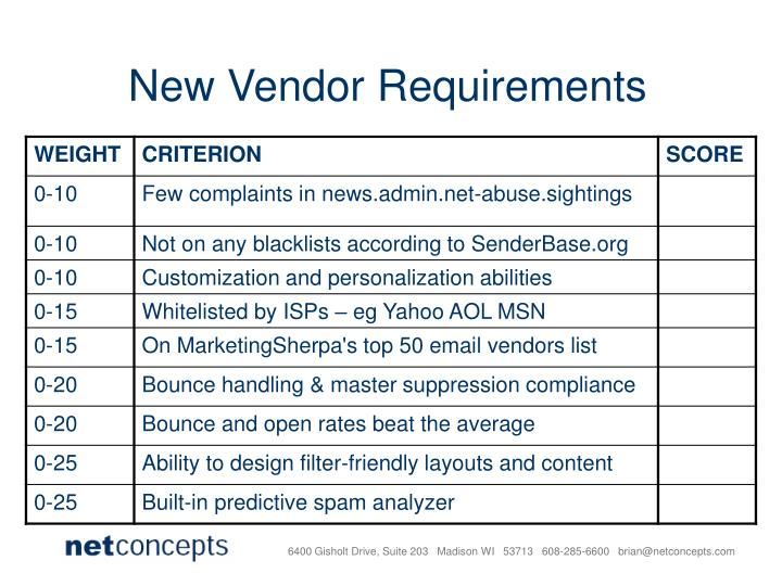 New Vendor Requirements