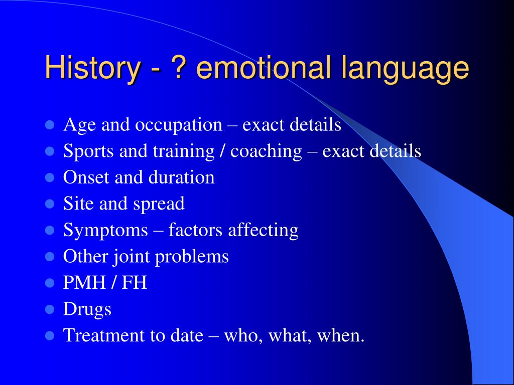 History - ? emotional language