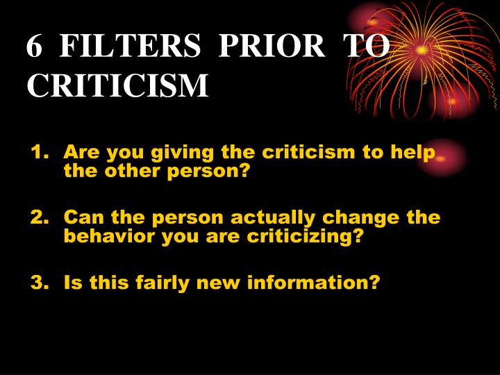 6  FILTERS  PRIOR  TO  CRITICISM