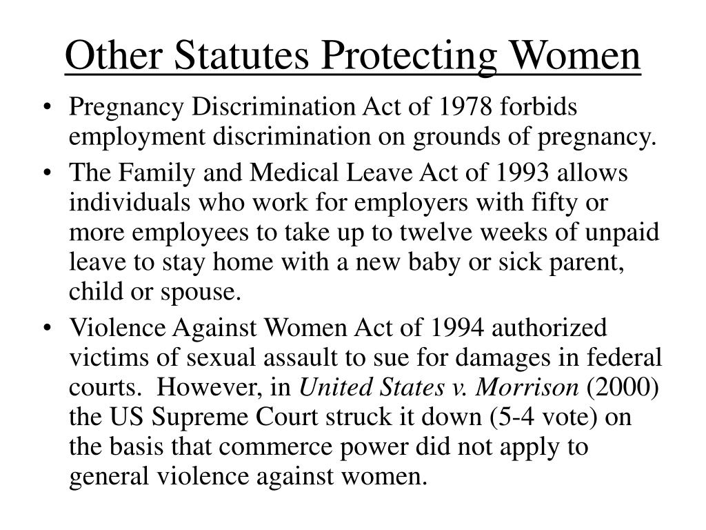 Other Statutes Protecting Women