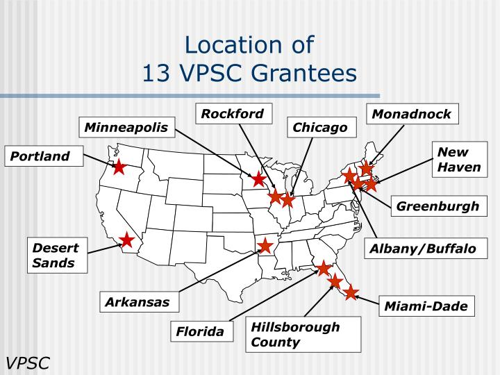 Location of 13 vpsc grantees