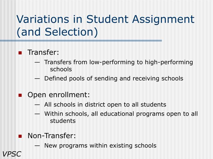 Variations in Student Assignment