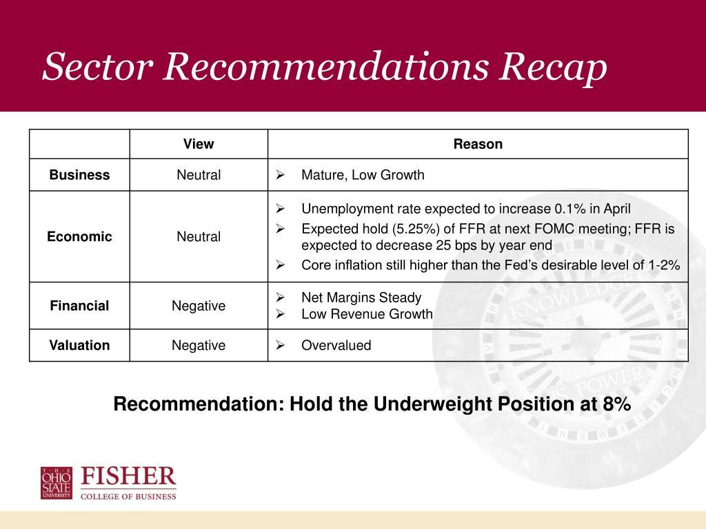 Sector Recommendations Recap