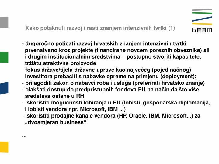 Kako potaknuti razvoj i rasti znanjem intenzivnih tvrtki (1)