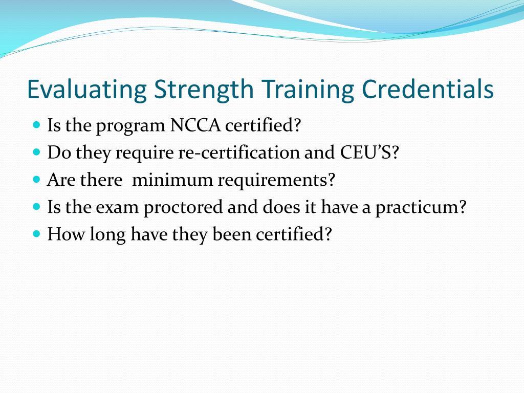 Evaluating Strength Training Credentials