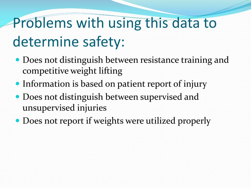 Problems with using this data to determine safety:
