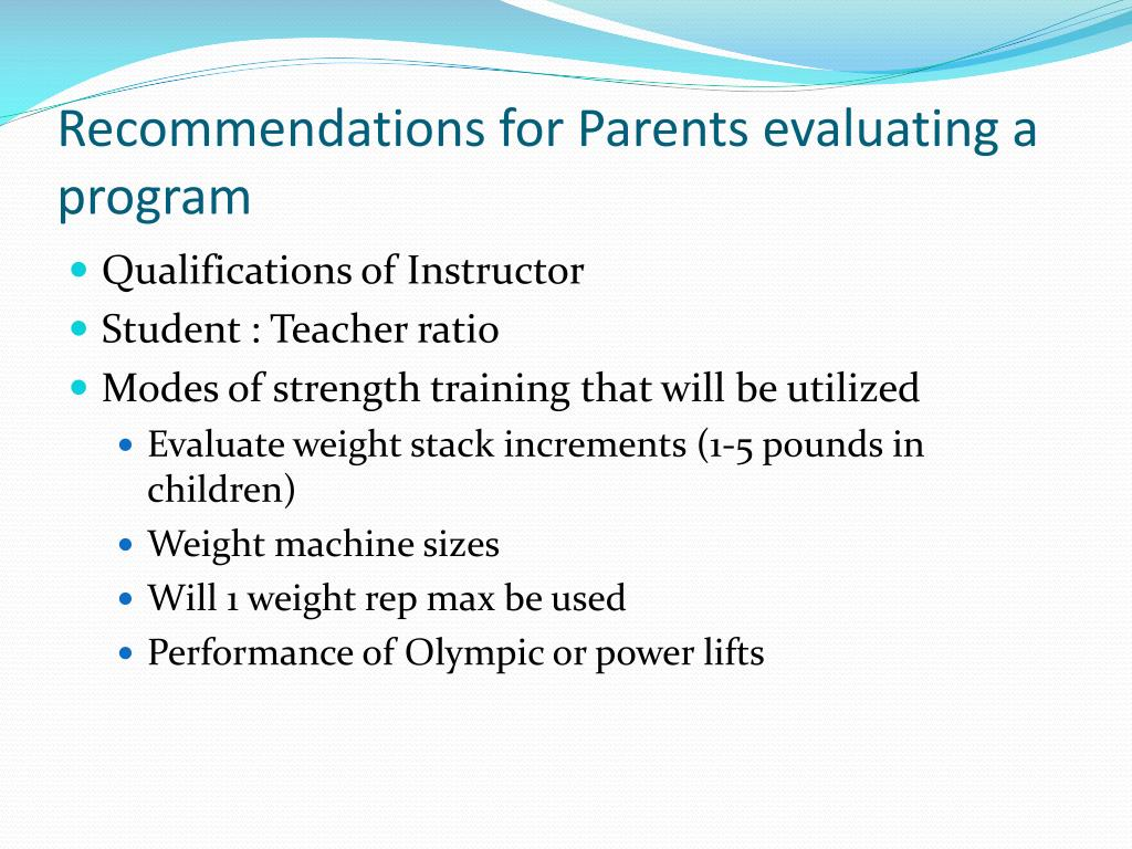 Recommendations for Parents evaluating a program