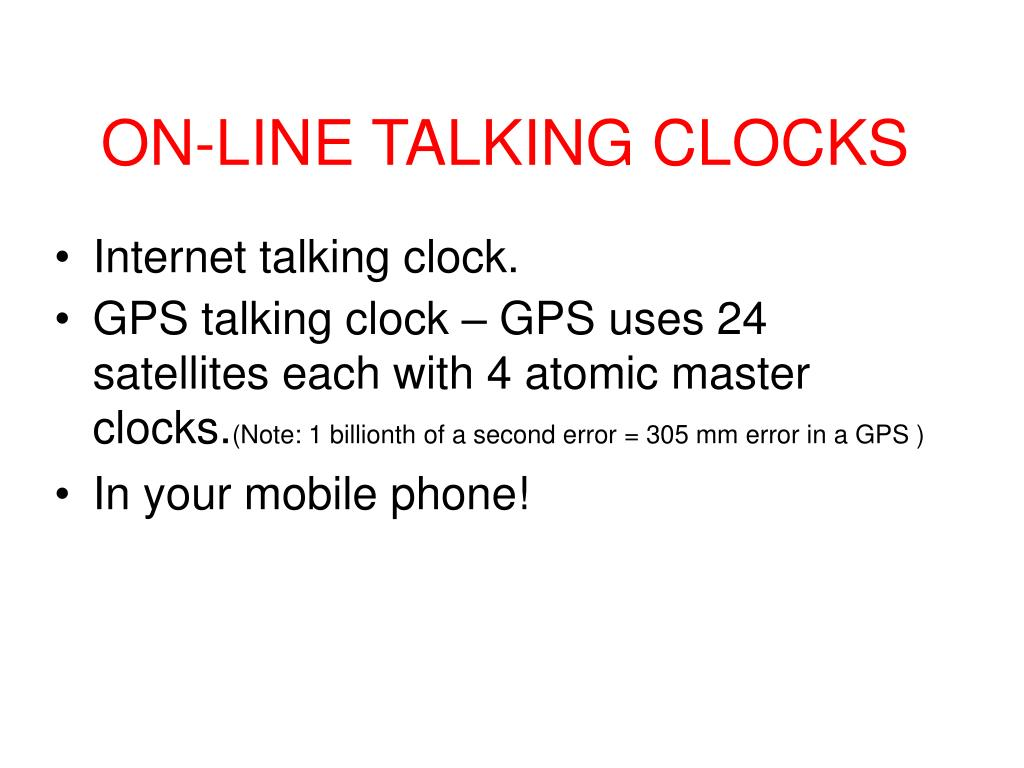 ON-LINE TALKING CLOCKS