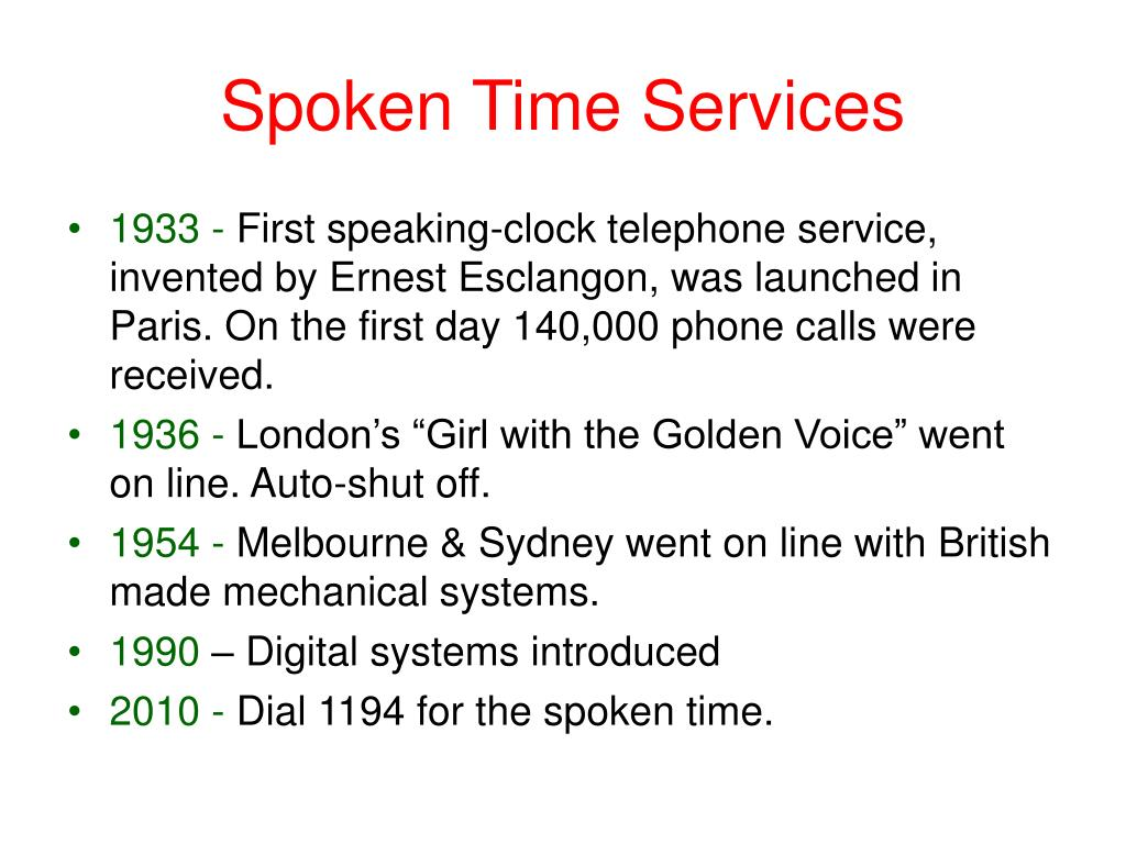 Spoken Time Services
