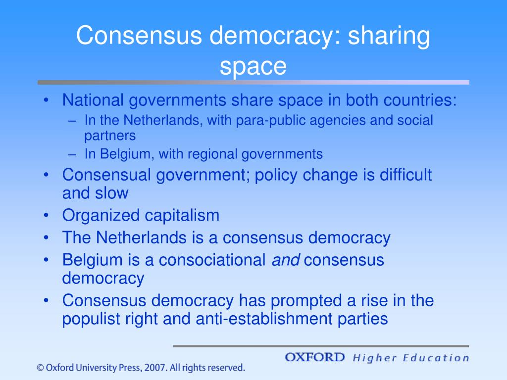 Consensus democracy: sharing space