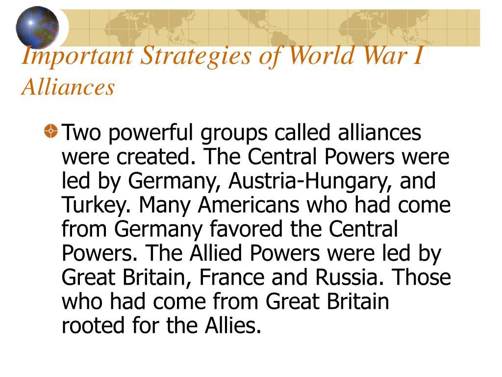Important Strategies of World War I